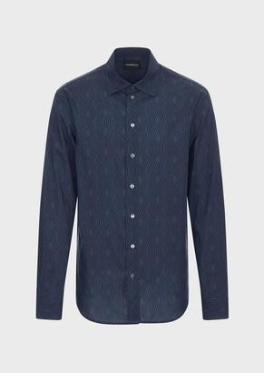 Emporio Armani Tencel Shirt With All-Over Optical Print