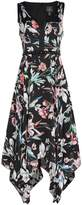 Adrianna Papell V neck floral dress with hankie hem
