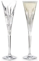 Waterford Lismore Diamond Script Monogram Toasting Flute Pair