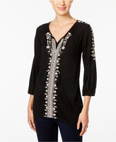 Style&Co. Style & Co. Embroidered Bishop-Sleeve Top, Only at Macy's