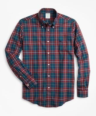 Brooks Brothers Milano Fit Burgundy Plaid Zephyr Sport Shirt