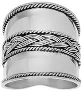 Journee Collection Women's Braided Design Wide-cut Statement Ring in Sterling Silver