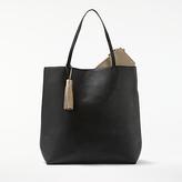 John Lewis Tia Large Reversible Tote Bag, Black/Pewter