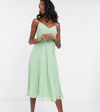 Asos Tall ASOS DESIGN Tall pleated cami midi dress with drawstring waist in sage green