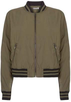 Mint Velvet Khaki Zip Pocket Bomber Jacket