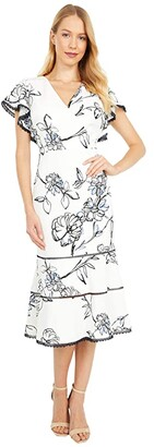 Lauren Ralph Lauren Chazzy Cap Sleeve Day Dress (Colonial Cream/White/Multi) Women's Dress