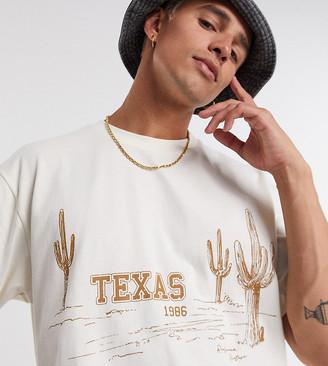 Reclaimed Vintage inspired unisex texas print t-shirt in cream