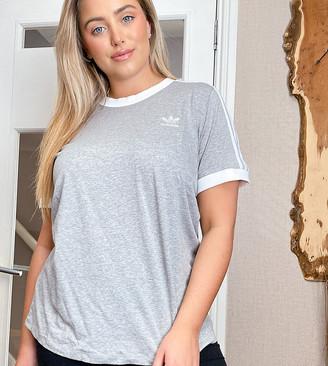 adidas Plus 3 stripe ringer t-shirt in grey
