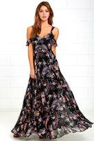 LuLu*s Romantic Fantasy Pink and Black Floral Print Maxi Dress