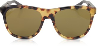 Gucci GG0266S Squared-frame Havana Brown Sunglasses w/Polarized Lenses