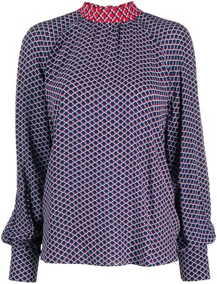 Kenzo Fishnet-print pussy-bow blouse
