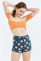BDG Pinup Rolled Hem High-Rise Short - Navy Oranges