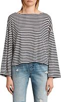 AllSaints Nova Linen Striped T-Shirt, Chalk White/Navy
