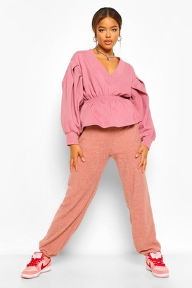 boohoo Puff Sleeve V Neck Sweat