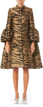 Carolina Herrera Flare Sleeve Tiger Print Cape Coat