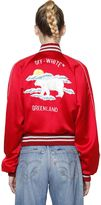 Off-White Embroidered Satin Bomber Jacket
