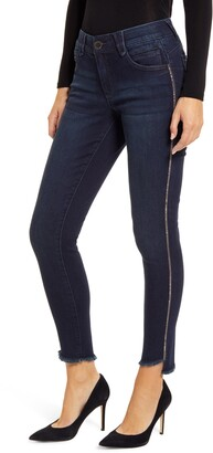 Wit & Wisdom Ab-Solution Side Stripe Frayed Ankle Skinny Jeans