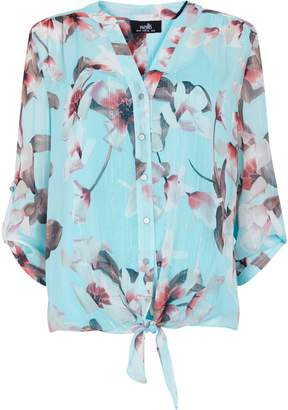 Wallis Mint Floral Print Tie Hem Shirt