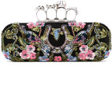 Alexander McQueen Knuckle long box clutch - women - Silk/Nappa Leather/Viscose/Swarovski Crystal - One Size