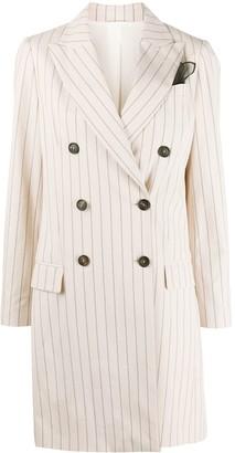 Brunello Cucinelli Striped Button-Down Coat
