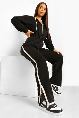 boohoo Contrast Stripe Hooded Sweat Jumpsuit