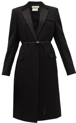 Bottega Veneta Belted Wool-grain De Poudre Coat - Womens - Black