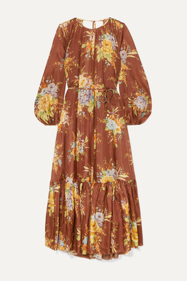 Zimmermann Zinnia Tiered Open-back Floral-print Silk Midi Dress - Brown
