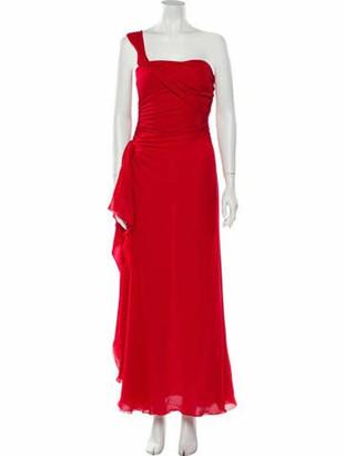 Valentino One-Shoulder Long Dress Red