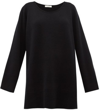 The Row Damian Scoop-neck Wool-blend Sweater - Womens - Black