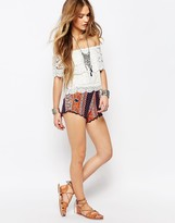 Glamorous Shorts In Festival Stripe Paisley Print