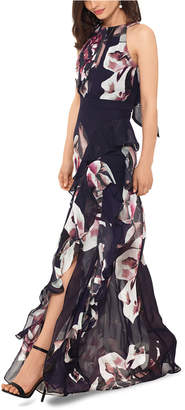 Betsy & Adam Petite Floral Halter Maxi Gown