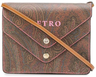 Etro paisley logo print foldover top bag