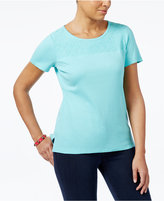 Karen Scott Cotton Lace-Yoke T-Shirt, Only at Macy's