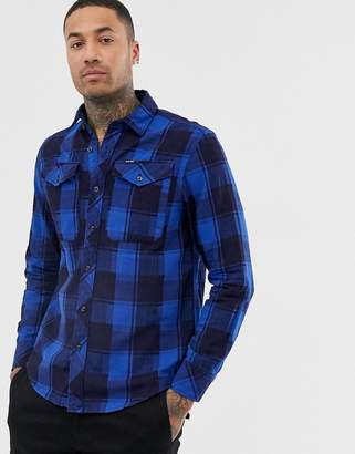 G Star G-Star Bristum long sleeve checked shirt in blue