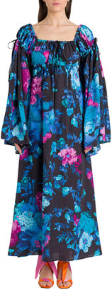 ATTICO The Floral Dress With Wide Sleeves