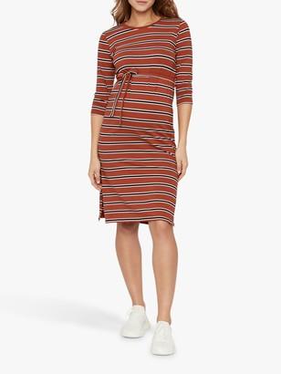 Mama Licious Mamalicious Naya Striped Tie Waist Jersey Maternity Dress, Red/Blue