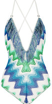Missoni Mare Fringed Crochet-knit Swimsuit - Cobalt blue