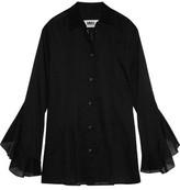 MM6 MAISON MARGIELA Ruffled Pintucked Cotton-Voile Shirt