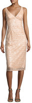 Milly Liz Sleeveless Sequined Floral Cocktail Dress, Nude