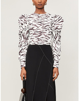 REJINA PYO Roberta tiger-print cotton-poplin top