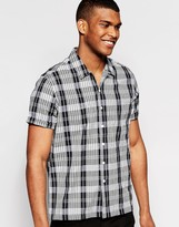 Asos Check Shirt In Black With Revere Collar And Short Sleeves In Regular Fit