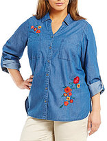 Intro Plus Denim Floral Embroidery Top