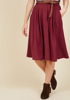 ModCloth Breathtaking Tiger Lilies Midi Skirt in Merlot in 2X