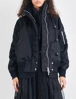 Sacai Ruched oversized bomber jacket