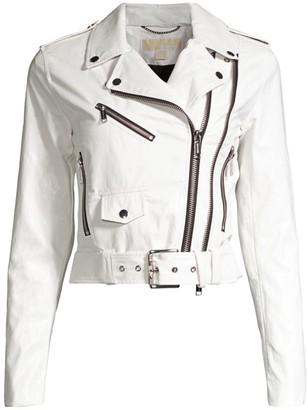 MICHAEL Michael Kors Shrunken Moto Faux Leather Jacket