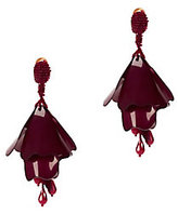 Oscar de la Renta Flower Earrings: Burgundy