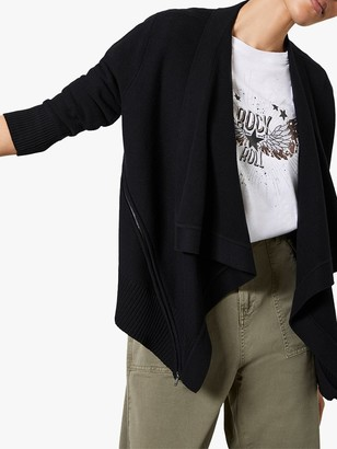 Mint Velvet Biker Cardigan, Black