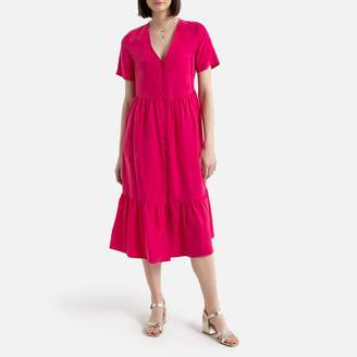La Redoute Collections Short-Sleeved Dress with V-Neck