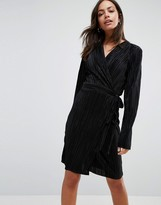 Liquorish Wrap Front Long Sleeve Pleated Dress
