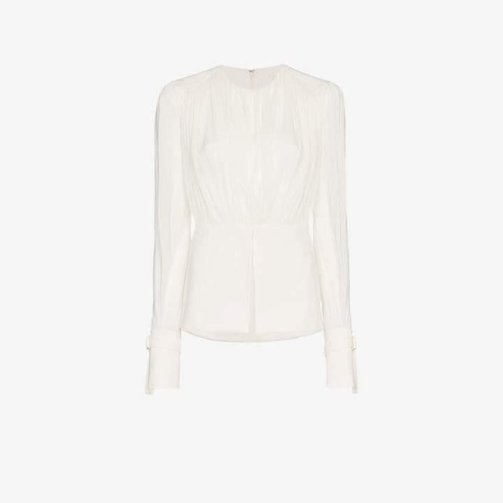 Chloé White Sheer Gathered Silk Blouse